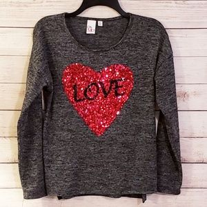 Gray Longsleeve Top With Sparkly Love Heart